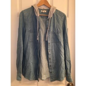 Denim top with hoodie and cuff sleeves